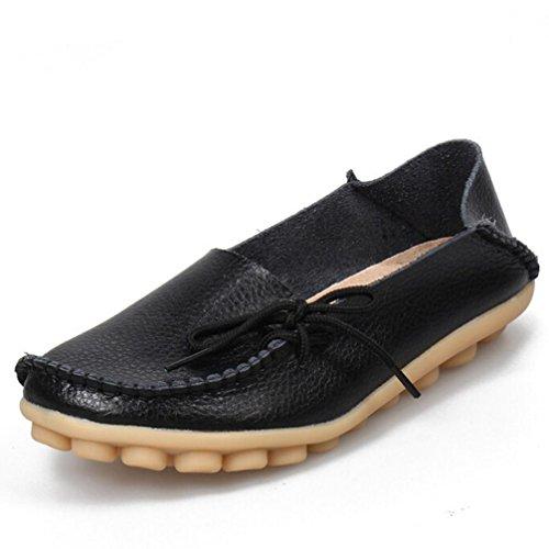 Transer® Scarpe Barca Mocassini Donna Pelle Pieno Fiore Calzature Scarpe Sportive da Ginnastica Stringata Sneakers (40, Nero)