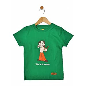 t-shirt with i like to be naughty print, green, 7-8 years