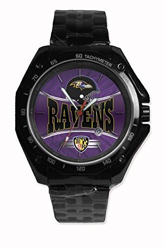 Custom Nfl Raven Baltimore Team Logo Snap On Black Watch Stainless - Steel Fit Your Hoodie