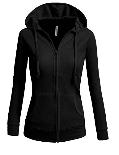 TL Women's Solid Warm Thin Thermal Knitted Casual Zip-Up Hoodie Jacket BLACK-S (Thermal Hoodie Womens compare prices)