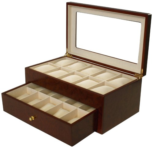 Tech Swiss Watch Box for 20 Watches Burlwood Matte Finish XL Extra Large Compartments Soft Cushions Clearance Window
