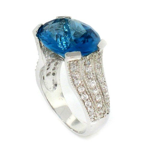 Vintage/Modern Engagement Ring w/Blue &#038; White CZs Size 5