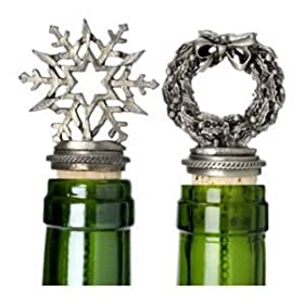 Set of 2 Solid Pewter Wine Stoppers for Christmas - Wreath and Snowflake: Everything Else