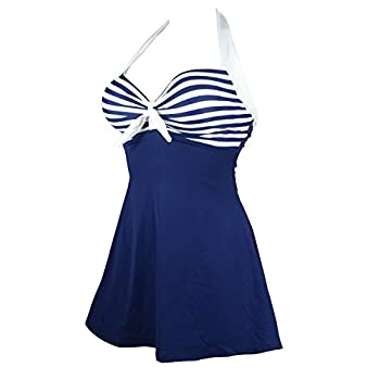 Cocoship Vintage Sailor Pin Up Swimsuit One Piece Skirtini Cover Up Swimdress(FBA)