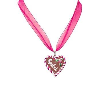 Alpenflüstern Damen Organza-Trachtenkette Lebkuchenherz Spatzl pink DHK05700025