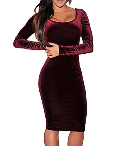 Sexy Womens Wine Red Velvet Long Sleeve Bodycon Bandage Cocktail Midi Dress (Wine Red)