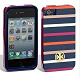 Tory Burch Navy Pink Classic Stripes iPhone 4/4S Hardshell Case
