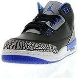 Jordan Kid's Air 3 Retro BG, BLACK/SPORT BLUE-WOLF GREY, Youth Size 3.5