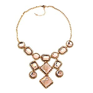 Pugster Golden Chain Jewelry Light Brown Crystal Party Ball Fashion Pendant Bubble BIB Statement Fashion Choker Necklaces