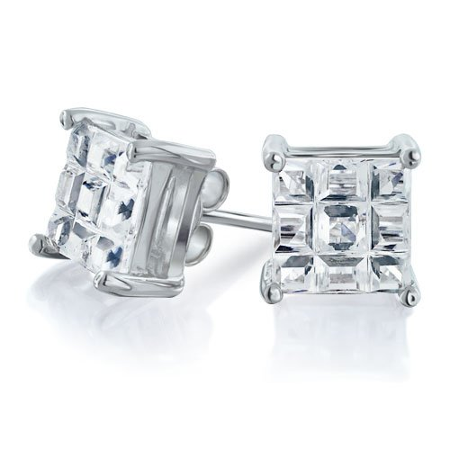 Bling Jewelry CZ Mens Square Invisible Cut Silver Stud Earrings 9mm