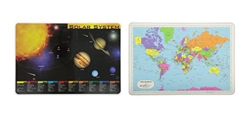 Painless Learning Solar System and World Map Educational Place Mat - 2 Piece BUNDLE (Space Placemat compare prices)