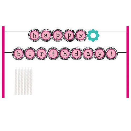 Creative Converting Pink Zebra Boutique Cake Banner Decoration Kit