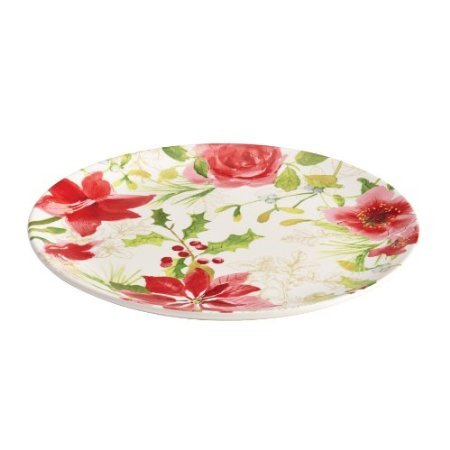 Paula Deen Signature Dinnerware Holiday Floral Collection Round Platter, 12-Inch