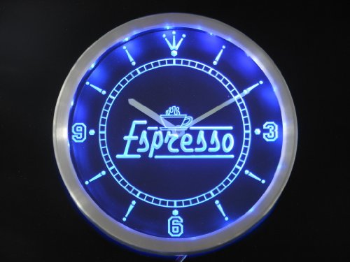 nc0266-b Espresso Coffee Shop Cafe Neon Sign LED Wall Clock