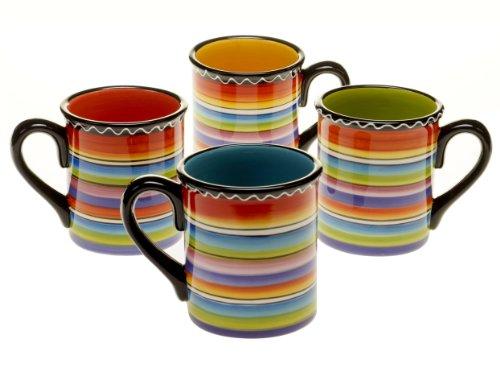 Certified International Tequila Sunrise Mug, 18-Ounce, Assorted Designs, Set of 4