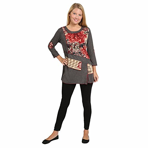 Women's Tunic Top - Parsley & Sage Floral Pattern 3/4 Sleeve Gray Blouse - XL (Old Sage compare prices)