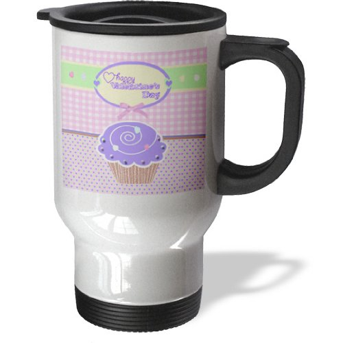Tm_173151_1 Beverly Turner Valentine Design - Valentine Purple Cupcake With Candies On Peach Gingham And Tiny Hearts - Travel Mug - 14Oz Stainless Steel Travel Mug