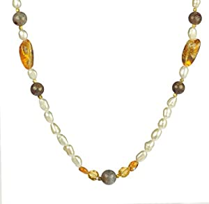"""White Freshwater Cultured Baroque Pearl with Citrine Nuggets and Agate Beads Necklace, 30"""""""