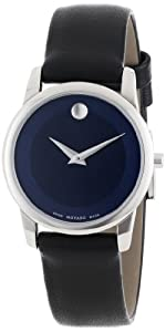 Movado Women's 0606611 Museum Classic Stainless Steel Case Black Calfskin Leather Strap Blue Dial Watch
