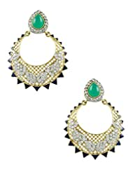 The Art Jewellery Emerald Color Victorian AD Dangle&Drop Earrings For Women