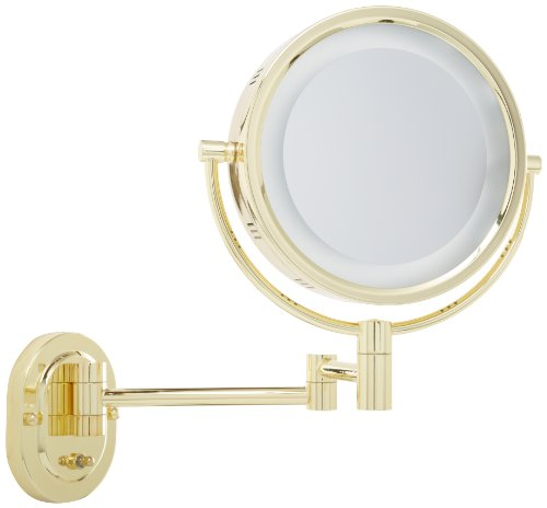 Jerdon Hl65G 8-Inch Lighted Wall Mount Makeup Mirror With 5X Magnification, Gold Finish