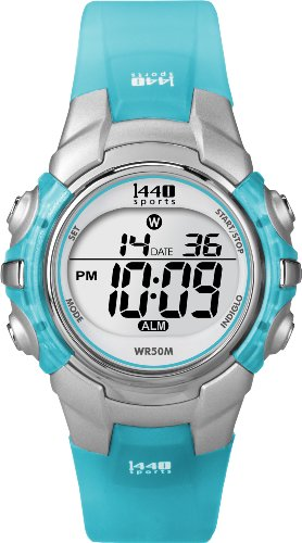 Timex Women's T5K460 1440 Sports Digital Silver/Translucent Blue Resin Strap Watch