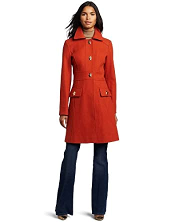 Jessica Simpson Women's Single-Breasted Walker Length Coat, Burnt Orange, Small