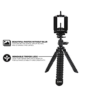 Flexible Cell Phone Tripod and Mount by LOHA with Photography Guide