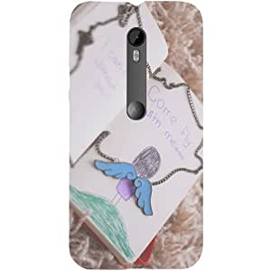 Casotec Notepad Drawing And Chain Design Hard Back Case Cover for Motorola Moto G 3rd Generation