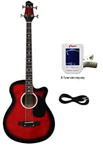 Crescent AEB-RD Acoustic Electric Bass Guitar Kit, Red Color (Built-in Equalizer and Crescent Digital E-Tuner Included)