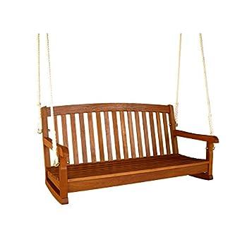 International Caravan TT-SW-006-2-IC Furniture Piece Royal Tahiti Curved Back Wood Two Seated Swing
