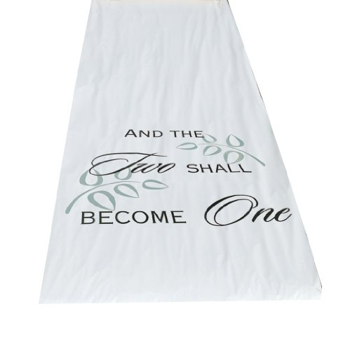 Hortense B. Hewitt Wedding Accessories Fabric Aisle Runner, Two Shall Become One, 100-Feet Long