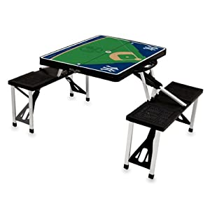 MLB New York Yankees Baseball Field Design Portable Folding Table and Seats, Black by Picnic Time
