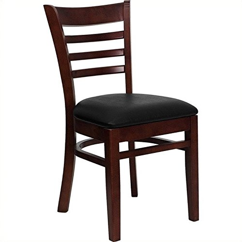 FlashFurniture XU-DGW0005LAD-MAH-BLKV-GG Hercules Series Mahogany Finished Ladder Back Wooden Restaurant Chair with Black Vinyl Seat (Wooden Restaurant Chair compare prices)