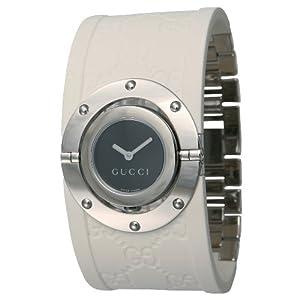 GUCCI (グッチ) 腕時計 トワール 112J YA112422 ホワイトラバー ブラック ワイド レディース