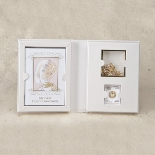Precious Moments 4 piece GIRL First Holy Communion Gift Set - Rosary - Prayer book - lapel pin - 1
