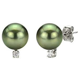 14k White Gold .06ctw SI3-I1/G-H Diamond 8-9mm Black South Sea Tahitian Cultured Pearl Stud Earrings