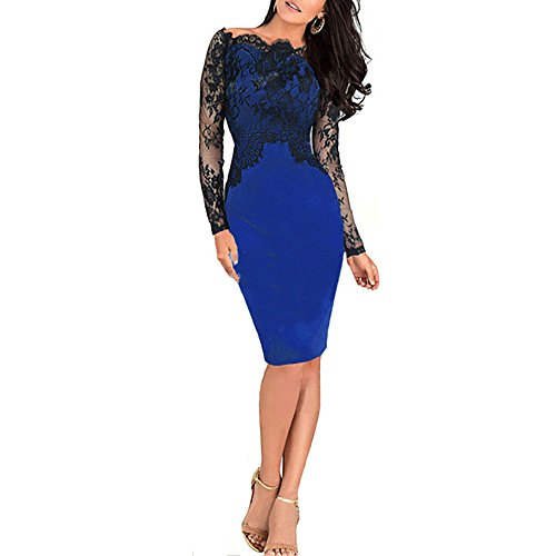Party Lace dress - Women's Sexy Floral Lace Pencil Bodycon Evening Cocktail Party Formal Off Shoulder Long Sleeve Blue UK12 size L