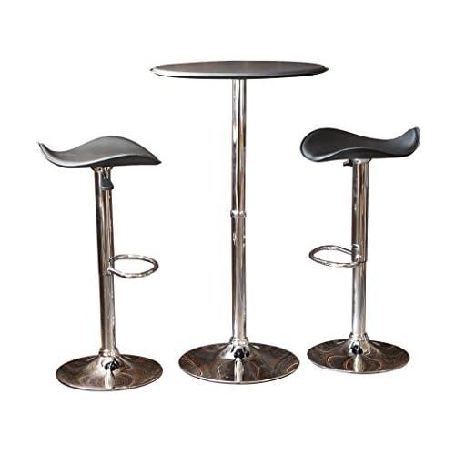 円形バーテーブル レザー & シンプルレザーバーチェア ブラックセット
