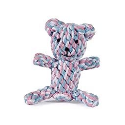 Zanies Rope Bear Dog Toys, Pink, Small, 4\