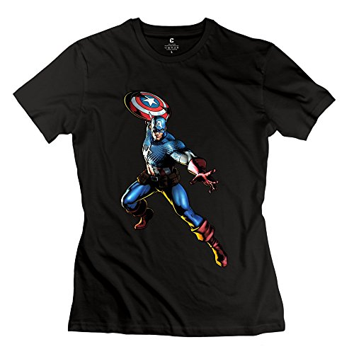 Woman Superhero Captain America Custom 100% Cotton Black T-Shirt By Mjensen