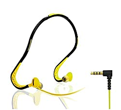 "Advent Basicsâ""¢ Remax S15 Sports Sweat-proof Neckband Earphone flexible TPE material Designed with 30-degree rotating earbud Compatible With LG Asus Samsung iphone OnePluse Redme Xiaomi - Yellow"