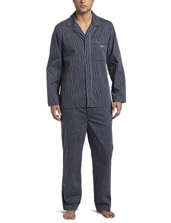 BOSS HUGO BOSS Men's Check Woven Long Sleeve Pajama Set, Navy/Charcoal Stripe, X-Large