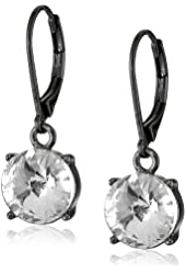 "Kensie ""Ice Ice Baby"" Hematite-Plated Leverback Drop Earrings"