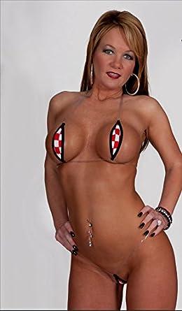 Red White Racing Checkered Flag Sexy Micro G-String Teardrop Bikini