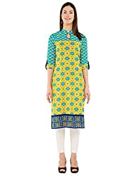 Vishudh Women's Straight Kurta (VNKU004753_Yellow_XX-Large)