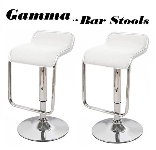 Gamma Adjustable Synthetic Leather Bar Stools - White (Set Of 2) front-647579