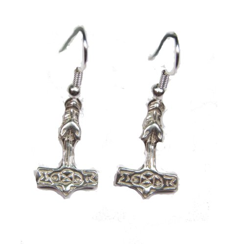 Sterling Silver Thor's Hammer Wolf Earrings