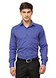 Copperline Blue Striped Slimfit Fullsleeves Cotton Formal Shirts