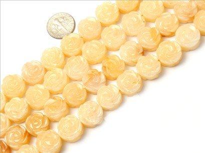 14mm flower gemstone yellow jade beads strand 15
